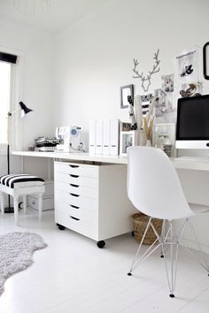 Make your desk work double time by using the IKEA ALEX unit to separate the desk into two distinct work stations.