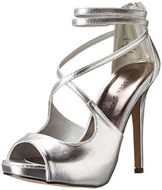 Madden Girl Womens Baaylee Dress Sandal Silver Patent 8 M US -- Details can be found by clicking on the image.