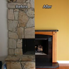 Fireplace remodel. Original site includes detailed instructions.