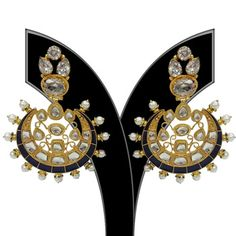 White Black And Golden Colour Kundan Studded Earring