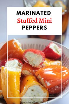 Marinated Sweet Mini Peppers stuffed with feta and cream cheese mixture and herbs that give you the flavors of Italy. Those peppers are marinated in olive oil. Rib Recipes, Pork Chop Recipes, Chicken Recipes, Ramen Recipes, Fudge Recipes, Bean Recipes, Crockpot Recipes, Cookie Recipes, Appetizer Recipes
