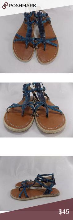Via Spiga blue snake print gladiator sandals Via Spiga gladiator sandals. Women's size 9. Blue snake print leather straps/leather lining/rubber soles. Excellent condition. Via Spiga Shoes Sandals
