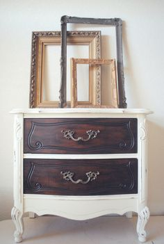 French Provincial Style Nightstand Side Table  by JunkLoveandCo, $135.00 Annie Sloan Chalk Paint and General Finished Java Gel Stain