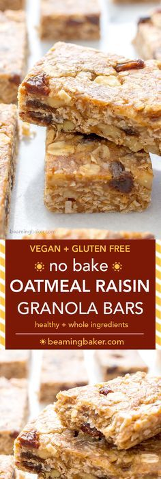No Bake Oatmeal Raisin Granola Bars (V+GF): Soft and chewy granola bars that taste just like an oatmeal raisin cookie. An easy Vegan and Gluten Free recipe made with whole ingredients. Dairy Free Granola Bars, Vegan Granola Bars, Homemade Granola Bars, Gluten Free Nut Free Granola Bar Recipe, Granola Bar Recipes, Oatmeal Raisin Bars, No Bake Oatmeal Bars, No Bake Granola Bars, Healthy Oatmeal Raisin Cookies