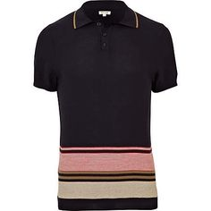 7841852c787 navy stripe knit polo shirt - polo shirts - t-shirts   vests - men - River  Island