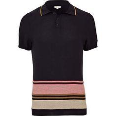 navy stripe knit polo shirt - polo shirts - t-shirts / vests - men - River Island