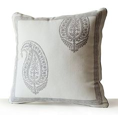 "Decorative Pillow Case - Ivory Cotton Throw Pillow Cover - Grey Paisley Pillow Covers - Asian Decor - Wedding Present - Dorm Decor (12"" x 20"") Amore Beaute http://www.amazon.com/dp/B00YESBDXW/ref=cm_sw_r_pi_dp_Wu0zvb1VQWZY6"