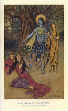 Rama Spurns the Demon Lover. Artist: Warwick Goble Image published: London, Illustration of an Indian myth from the Hindu epic Ramayana (ca. Art And Illustration, Illustrations, Warwick Goble, Moba Legends, Harry Clarke, Psy Art, Arthur Rackham, Poster Design, Fairytale Art