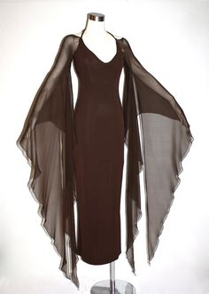 Vintage HALSTON Gown Brown Backless Halter Angel by StatedStyle. Just add a cami and your good to go