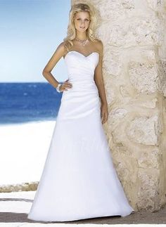 Wedding Dresses - $151.62 - A-Line/Princess Sweetheart Court Train Satin Wedding Dress With Ruffle Beading (0025060178)