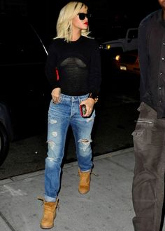 Rihanna. In love with this. Timberlands. Boyfriend jeans. Alexander wang mesh top.