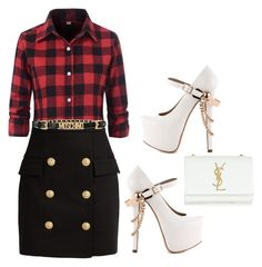 """""""Untitled #31"""" by abriellekitty ❤ liked on Polyvore featuring Balmain, Moschino, ZiGiny and Yves Saint Laurent"""