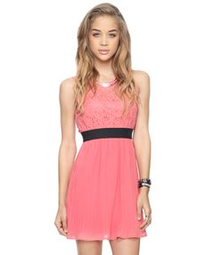 Pleated Lace Bodice Dress | FOREVER21 - 2000041607