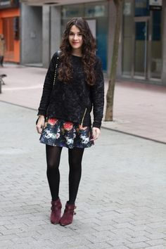 Shop this look on Kaleidoscope (sweater, skirt, bootie) http://kalei.do/XIeLokfhCMAYIaJP