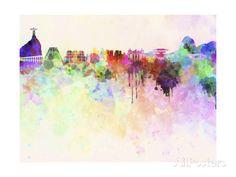 Rio De Janeiro Skyline in Watercolor Background Art Print