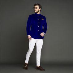 You are Customizing: Stately Royal Blue Velvet Jodhpuri Suit Wedding Dresses Men Indian, Wedding Dress Men, Wedding Suits, Wedding Men, Indian Men Fashion, Mens Fashion Suits, Mens Suits, Men's Fashion, Blue Blazer Outfit