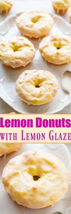 Baked Lemon Donuts with Lemon Glaze - They taste like the Starbucks lemon loaf, but in donut (or mini muffin) form!! Easy, no mixer recipe with a tart-yet-sweet lemon glaze that's PERFECT! Lemon lover (Churro Mini Muffin)