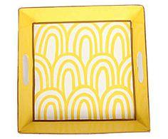 Bandeja pintada a mano Scales, amarillo y blanco - 30x30