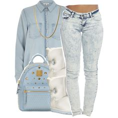 LBaby Blue by lulu-foreva on Polyvore featuring River Island, Wet Seal, UGG Australia and MCM