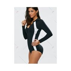High Neck Zippered Long Sleeve Dive Swimsuit (41 BAM) ❤ liked on Polyvore featuring swimwear, swim costume, high neck bathing suit, high neckline swimsuit, zip swimsuit and zipper swimsuit