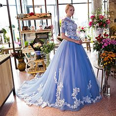 Formal+Evening+Dress+Ball+Gown+Halter+Chapel+Train+Lace+/+Tulle+with+Appliques+/+Flower(s)+/+Lace+–+USD+$+249.99