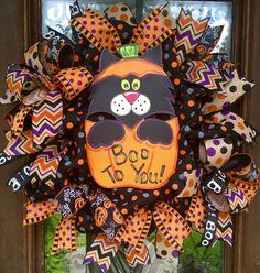 Halloween Boo Kitty wreath