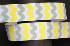 10Yd Yellow & Grey RicRac 7/8 White Grosgrain Ribbon Craft/Bow