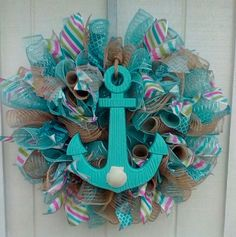 NAUTICAL BEACH SUMMER EVERYDAY DECO MESH RIBBON WREATH #DecoMesh