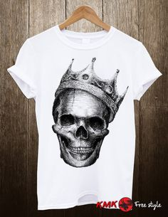 Skull with crown T-shirt / Skull Tee / Cool Skull by KMKDIGITAL Skull With Crown, Long Tee, Tee Shirts, Tees, Slim, Clothes For Women, Cool Stuff, Trending Outfits, Mens Tops