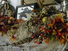 close up of fall florals and headless horseman silhouette