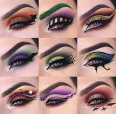 Im officially in Halloween mode ? To kick off the festivities heres a lineup of last years Halloween looks ? Im going to work extra Crazy Eye Makeup, Creative Eye Makeup, Makeup Eye Looks, Colorful Eye Makeup, Eye Makeup Art, Skin Makeup, Eyeshadow Makeup, Cool Halloween Makeup, Halloween Eyes