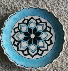 Mavi Pottery Painting, Ceramic Painting, Ceramic Plates, Decorative Plates, Geometric Form, Fendi, Ceramics, Tableware, Kitchen
