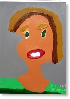 Patrick Francis Designer Greeting Card featuring the painting Portrait Of A Young Girl by Patrick Francis.