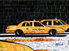 A artista alemã Nina Boesch criou colagens sobre Nova York usando cartões e bilhetes de metrô.