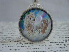 little unicorn handmade glass pendant