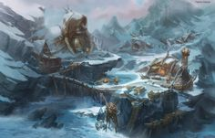 Within the World of Warcraft zone of Northrend live the Tuskarr Fantasy World Map, Fantasy Places, Environment Painting, Environment Design, Fantasy Art Landscapes, Fantasy Landscape, World Of Warcraft, Arctic Landscape, Viking Village