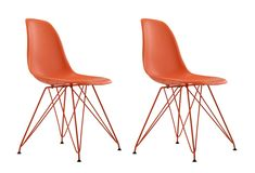 Dorel Home Furnishings Orange Mid Century Modern Molded Chair with Coloured Leg, Set of 2