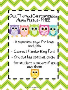 Owl Themed Customizable Name Plates FREE