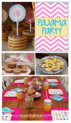 """Moments With My Miracles: Pajama Party! pancake """"cupcakes""""  Pillowcases  fruit loops Donut holes printable ideas"""