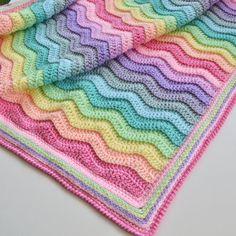 Best Of Crochet Ripple Blanket Rainbow Blanket Afghan Baby Rainbow Baby Blanket Crochet Hexagon Blanket, Baby Girl Crochet Blanket, Free Baby Blanket Patterns, Crochet Quilt, Crochet Blanket Patterns, Crochet Baby, Crotchet Blanket, Plaid Crochet, Square Blanket