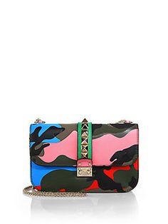 Valentino Rockstud Lock Camouflage Shoulder Bag