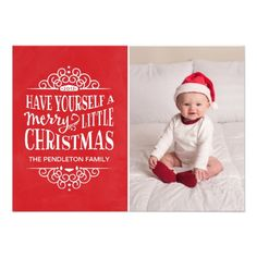 Whimsical Typography Holiday Photo Card.  $1.90