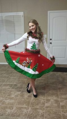 How about a ugly tree skirt party I sure do love this idea Wear Christmas Tree skirt to a ugly sweater party I'd wear it on Christmas Eve tooooo Homemade Ugly Christmas Sweater, Ugly Christmas Tree, Types Of Christmas Trees, Grinch Christmas Party, Christmas Party Themes, Christmas Costumes, Christmas Love, Christmas Activities, Christmas Crafts