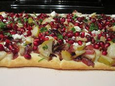 CARAMELIZED ONION, PEAR, AND POMEGRANATE BITES