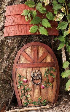 Gnome door or fairy door Fairy Garden Doors, Fairy Garden Houses, Fairy Doors, Gnome Garden, Fairy Gardening, Porch Garden, Indoor Gardening, Magic Garden, Garden Art