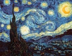 Starry night-Van Gogh. The view outside Van Gogh's sanitorium room window at Daint-Remy-de-Provence, at night