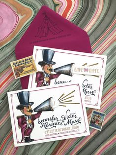 Vintage Circus Announcer Save the Date | Coral Pheasant