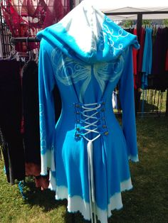 Corset lace turquoise bamboo Wings hoodie by FayeTalityCouture