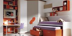 Great use of space. Love the extra bed, under bed drawers, wall storage, desk and TV. Compact!