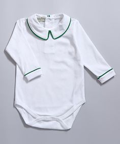 Love this White & Green Trim Long-Sleeve Bodysuit - Infant & Toddler on Baby Couture, Baby Boy Fashion, Long Sleeve Bodysuit, Big Kids, Boy Outfits, Classy, Sweatshirts, Green, Sweaters